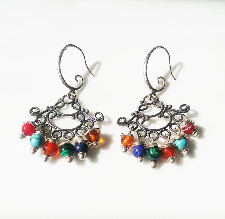Raindrops Multi Coloured Sterling Silver Chandelier Earrings