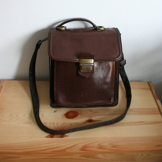 Vintage brown mens leather bag leather office by TaylorGirlsShop