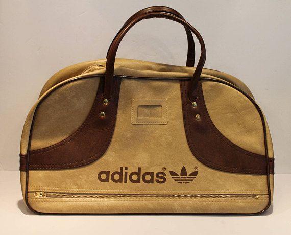Adidas Gym Bag  Vintage Adidas Tote Bag  Brown and Tan