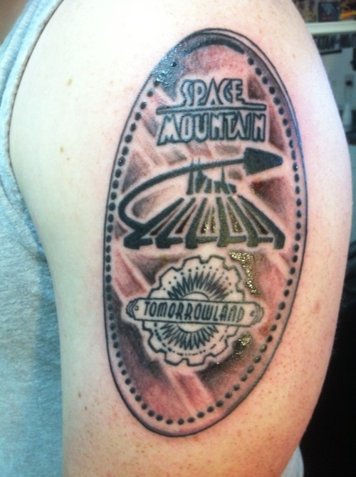 Space Mountain - TomorrowLand.. I love this pressed penny tattoo! Definitely a new idea since I am quite the pressed penny collector!