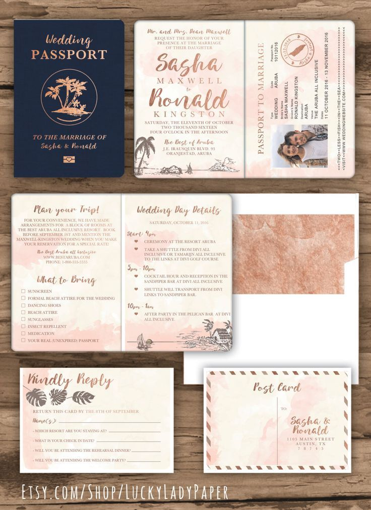 Personalised Passport Travel Boarding Pass Ticket Wedding Stationery Invitation Suite Inspiration in Rose Gold, Navy, White Watercolour Palette
