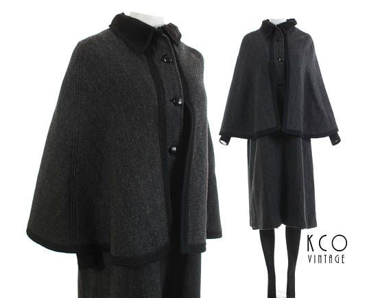 70s vintage long wool cape coat. ▪ ▪ ▪ ▪ ▪ ▪ ▪ ▪ ▪ ▪ ▪ ▪ ▪ ▪ ▪ • Brand: X • Material: HEAVY HERRINGBONE WOOL, RAYON LINING, COTTON TRIM • Made in X • Original label size: X • RECOMMENDED SIZE: MEDIUM 🚩 All clothing fits differently, so please follow the measurements below. I list the