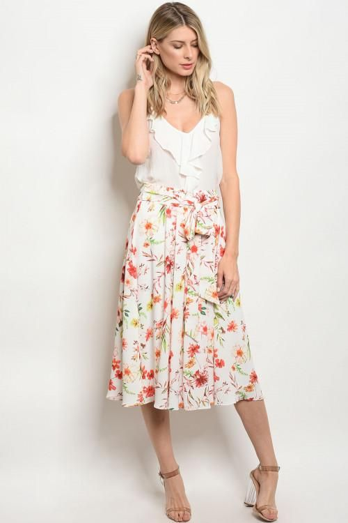 13f884fcff Off White Floral Print Midi Skirt | Products | Midi Skirt, Floral ...