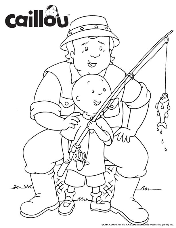 Print Color Caillou Fishing With Grandpa Coloring Sheet Activity Grandparentsday Coloring Books Coloring Pages Coloring Sheets