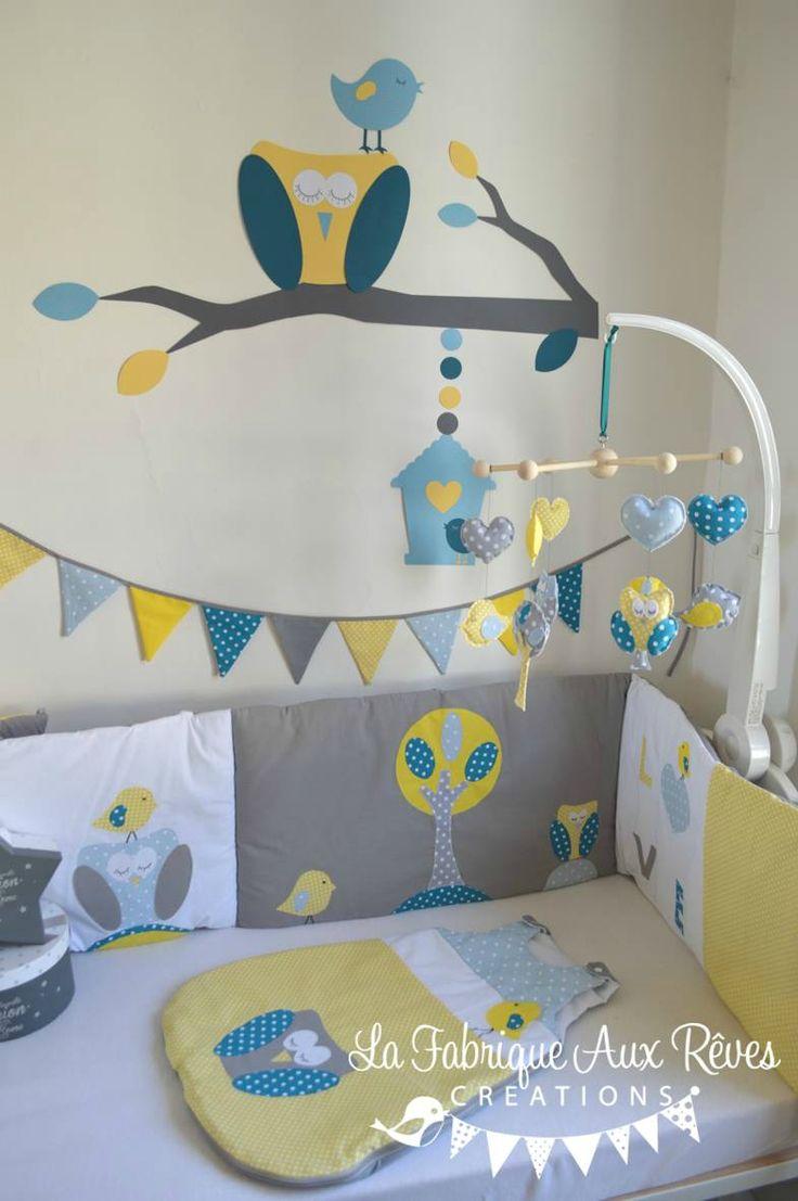 décoration chambre bébé chouette hibou arbre oiseau nichoir bleu ciel jaune bleu pétrôle canard gris