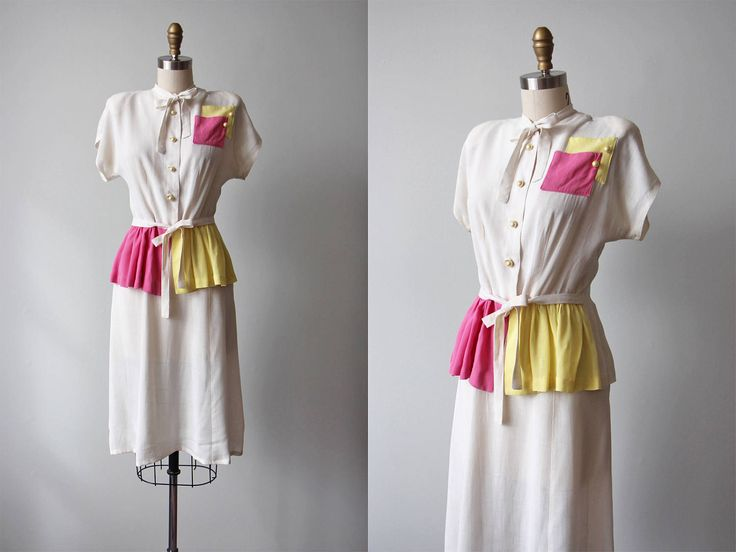 1940s Suit - Vintage 40s Dress Set - Pink Yellow White Colorblock Rayon Linen Suit w Deco Pockets and Peplum M - Hope Springs Dress Set by jumblelaya on Etsy