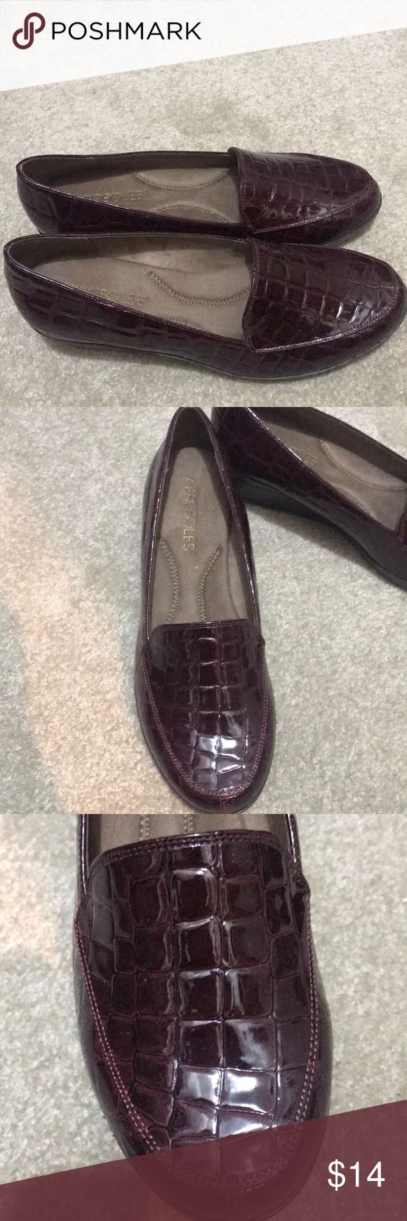 NWOT Aerosoles Size 7 patent leather wedge loafer Burgundy. So pretty. A little wedge gives their loafer a nice look. Never worn!! Size 7 AEROSOLES Shoes Flats & Loafers