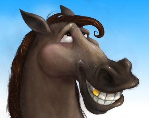 Лошадь рисунок прикольный, морковкой