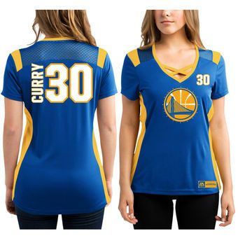 Women's Golden State Warriors Stephen Curry Majestic Royal Draft Him Jersey Top T-Shirt