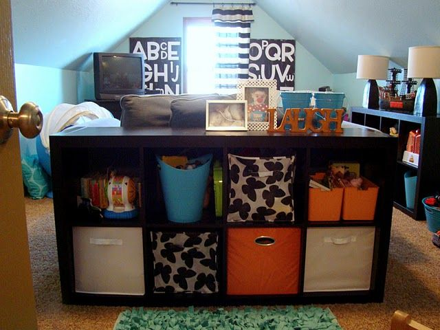 Cute playroom ideas: Playrooms Ideas, Toys Rooms, Kids Playrooms, Kids Plays Rooms, Fickl Pickled, Color, Ikea Shelves, Attic Playrooms, Kids Rooms