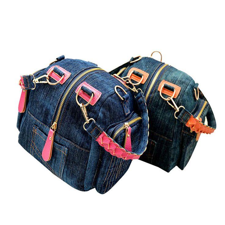 2017 fashion casual canvas patchwork women messenger bags for girls denim cowboy casual shoulder crossbody bag mochila feminina