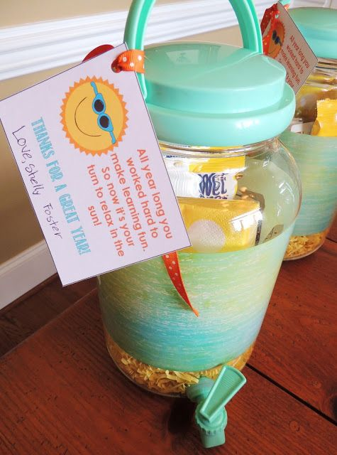 End-of-the-Year Teacher Gift - Drink dispenser filled with summer-themed things