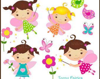 WOODLAND TEENY FAIRIES. Clip art set in Png & by LittlePumpkinsPix