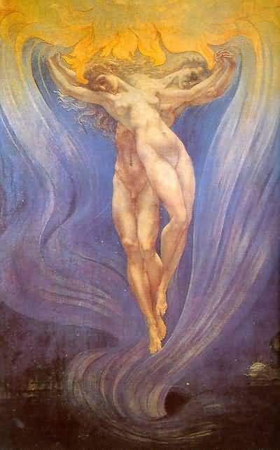 My absolute favorite piece of art.    The Love of Souls by Jean Delville (1867-1953)