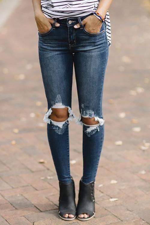 948ecacff710 Broken Hole Skinny Jeans in 2019