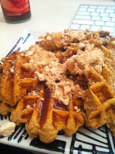 Pumpkin Pancakes or WAFFLES! (eggs, pumpkin puree, cinnamon, vanilla extract, 2 Tbsp coconut flour) Easy!