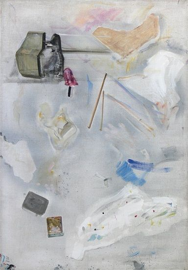 Gheorghe Ilea The story of small things, 1991, mixed technique on canvas, 165 x 115 cm