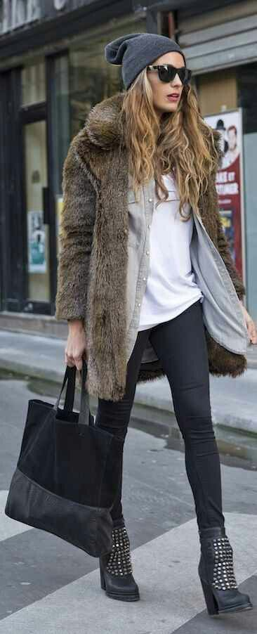 Love that chunky faux fur coat!