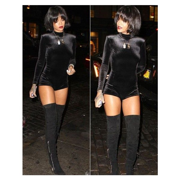 Rihanna wears sexy skin-tight playsuit, works thigh-high boots ❤ liked on Polyvore featuring jumpsuits, rompers, playsuit romper, sexy romper and sexy rompers