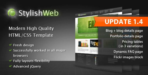 StylishWeb | Modern High Quality HTML/CSS Template   http://themeforest.net/item/stylishweb-modern-high-quality-htmlcss-template/122754?ref=damiamio          Introduction StylishWeb is a modern High quality HTML /CSS coded Template with powerful jQuery and Flash features. It features numbered slides , content objects/elements, full-width page layout, on hover icons with light-box supported images, videos and content, drop-down menu, multi-column footer and others to make it easy for you to…