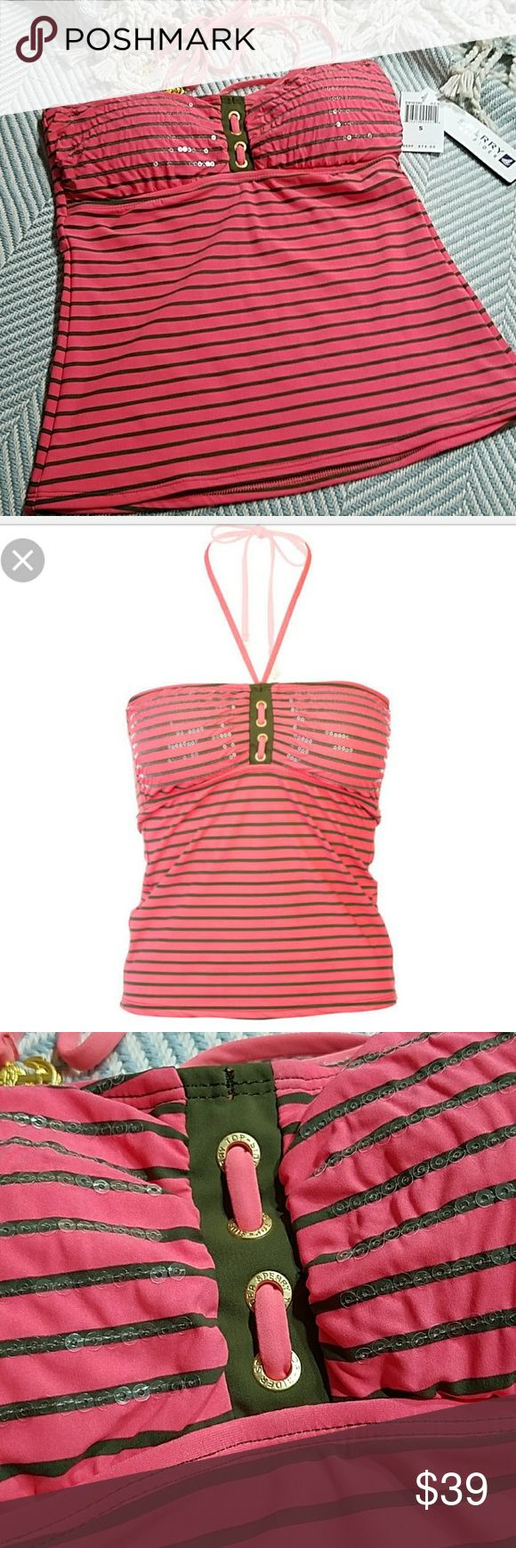Sperry Top-Sider Tankini Top Gorgeous bright coral with olive accents lined tanking top. Lightly padded soft molded cups. Sequin stitching on chest for just a little added sparkle. Fully lined inside. Neck tie detail with goldtone anchor weights. Beautiful front detail.straight back.sewen in side ribs. Wear over bikini bottoms or shorts. Sperry Top-Sider Swim