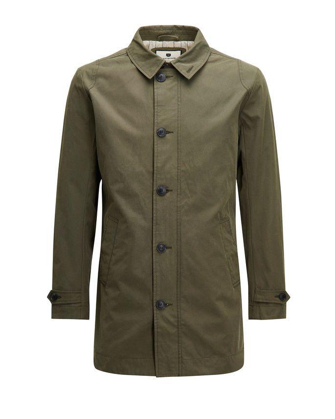 Minimalistic olive green trench coat   JACK & JONES #olivegreen #trench #coat #menswear #menstyle #premium