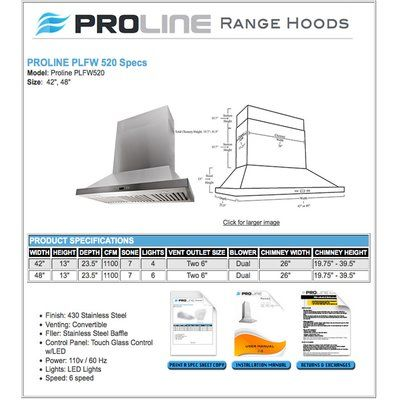 "ProLine Range Hoods 48"" 1100 CFM Convertible Wall Mount Range Hood"