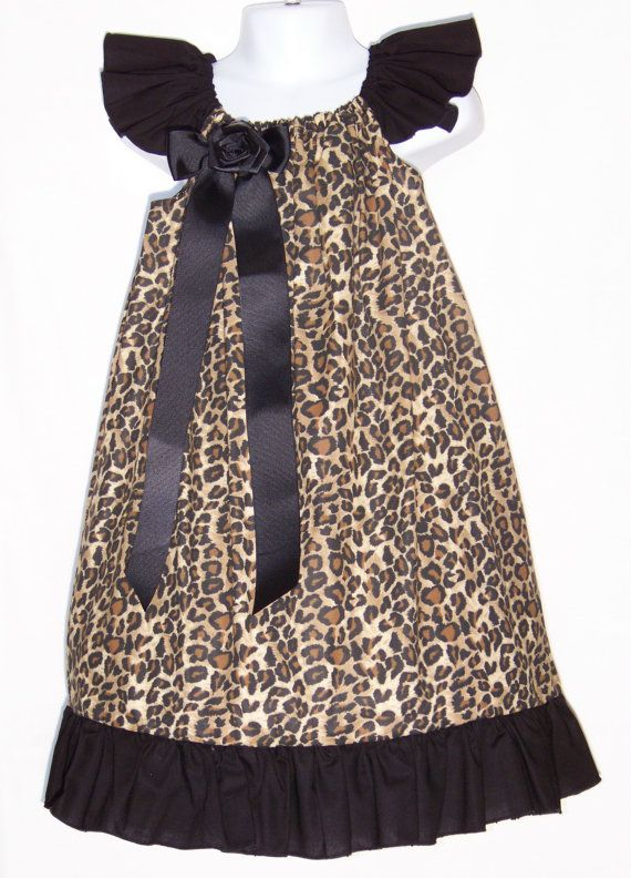 Cheetah & Black Custom Ruffle Dress/ Beautiful / Classy / Animal Print / Christmas /  Holiday / Fall/ Infant/ Baby/ Toddler/Boutique Clothes...