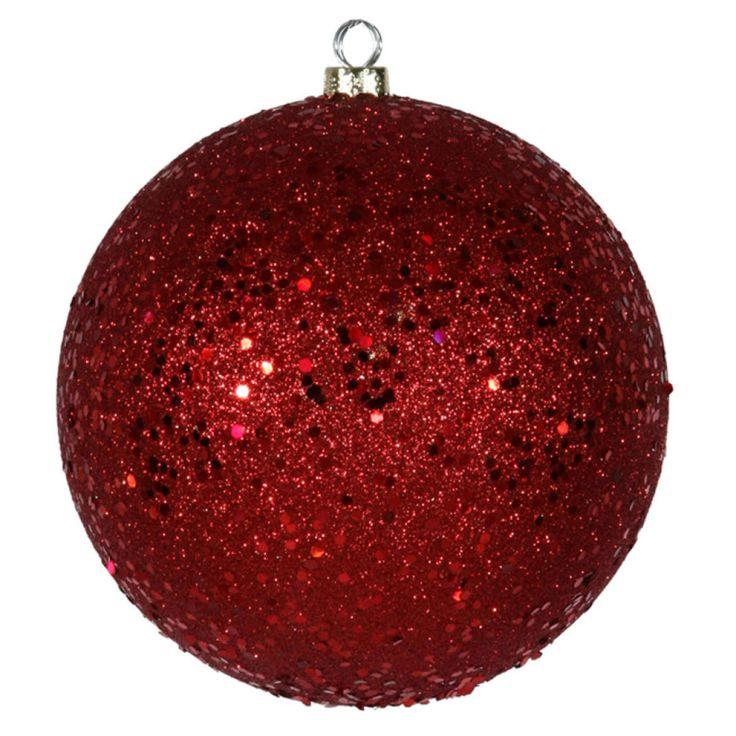 Blue Christmas Ball Ornaments Uk: Red Holographic Glitter Shatterproof Christmas Ball