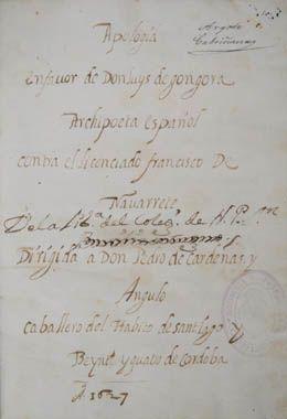 Francisco Martínez de Portichuelo. Apología en favor de don Luys de Góngora.1627