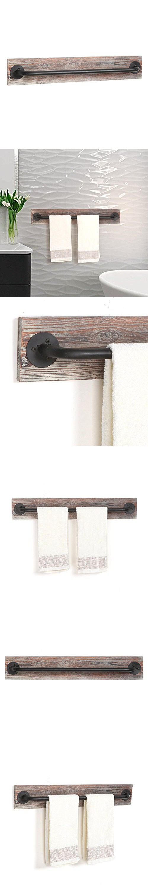 torched wood u0026 black metal hanging towel bar wall mounted bathroom towel holder rack