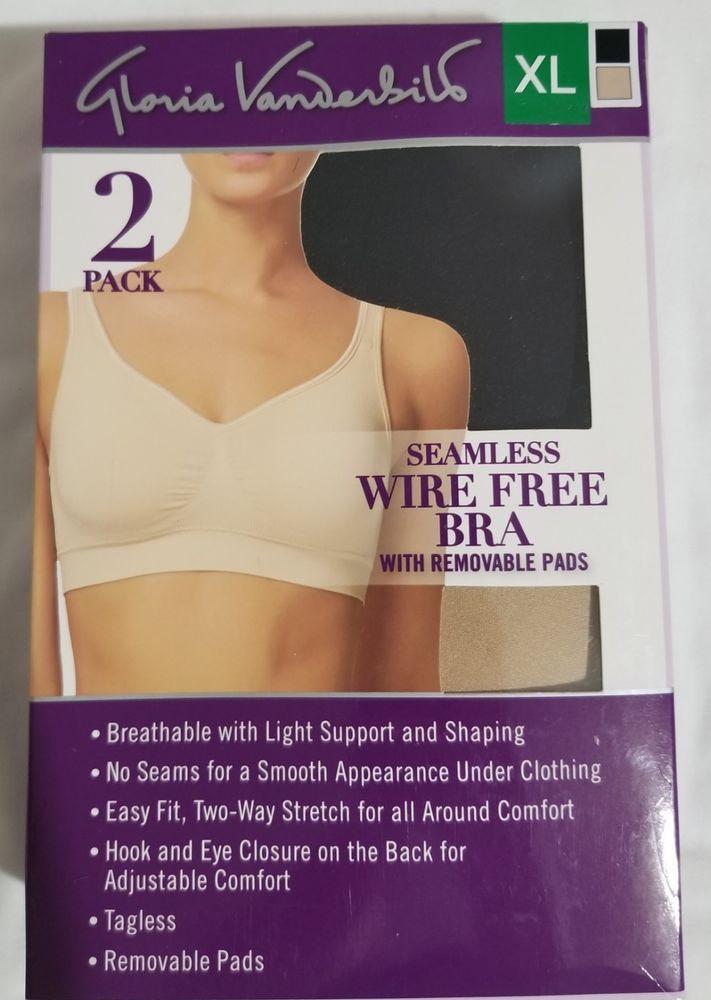 230ef7cb58 Gloria Vanderbilt 2 Pack Seamless Wire Free Bra Bralette Choose Size Colors   GloriaVanderbilt  Bralette