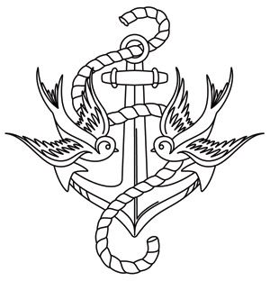 Thread Tattoos - Anchor and Swallows design (UTH6707) from UrbanThreads.com