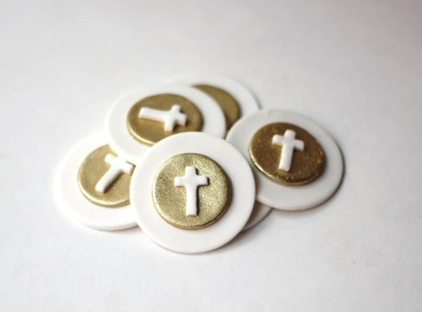 Fondant Cupcake Toppers Christening Baptismal First Communion Fondant Toppers - Gold Cross Fondant Toppers by Les Pop Sweets on Gourmly