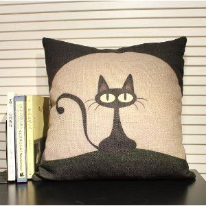 Black Cat Cartoon Pillow Creative Pillow Sofa Cushion Back Cushion: Amazon.co.uk: Kitchen & Home