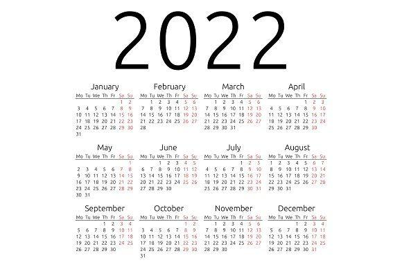 Free 2022 Wall Calendar By Mail.Simple Calendar 2022 Monday Stationery Templates Calendar Calendar Printables