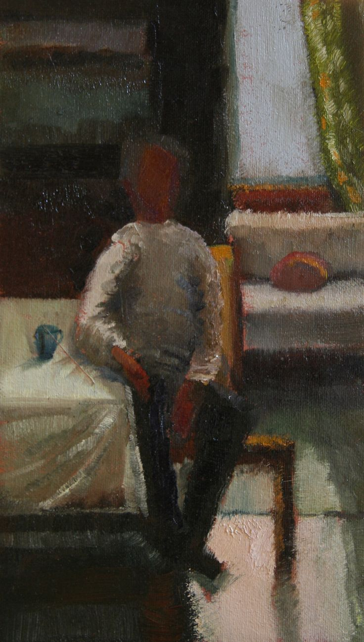 Interior Oil on cedar board 22.5 x 12.5cm