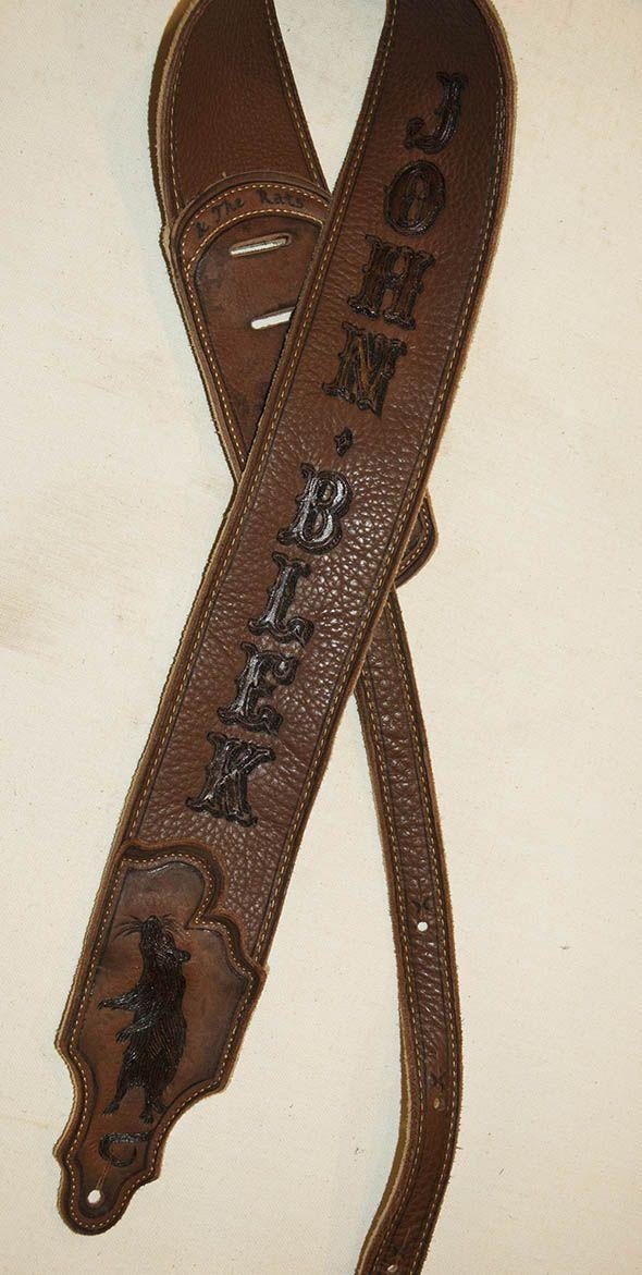 burnmethod, guitar, strap, pyrography, custom, wood burning, engraved, personalized, leather, vintage, brown, rat, fancy font, western, script