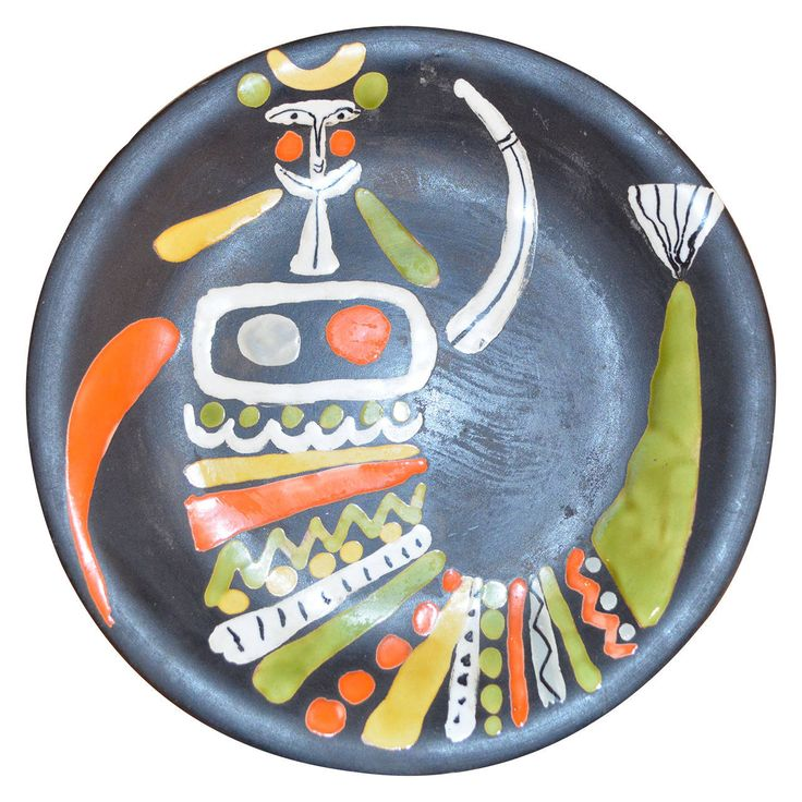 Decorative Ceramic Plate by Roger Capron | From a unique collection of antique and modern dinner plates at https://www.1stdibs.com/furniture/dining-entertaining/dinner-plates/