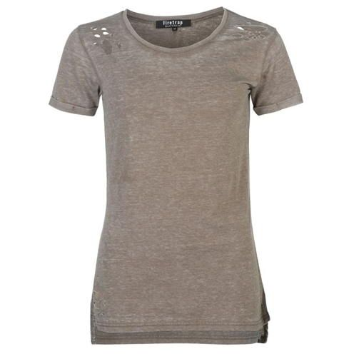 Firetrap Blackseal Distressed Burnout T Shirt | Crew neck | Worn appearance