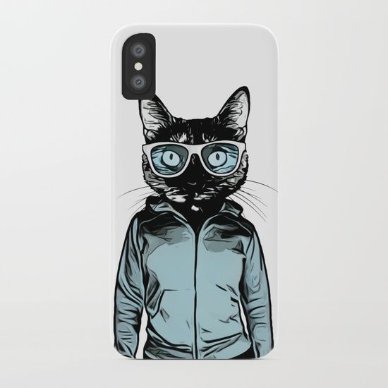 Digital illustration of a cat wearing sunglasses and a hoodie (on a human, female body) looking cool. #cat #kitty #girl #woman #illustration #digital #cool #iphone #case #iphonex
