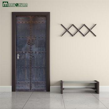 Maruoxuan 3D старые деревянные двери дверь наклейки спальня гостиная дверь ванной наклейки, украшения стены наклейки