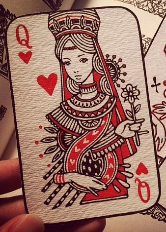 Queen of Hearts by Audrey Kawasaki. I was pretty obsessed with playing cards for a while, nice to see a great artist's take on the classic look.