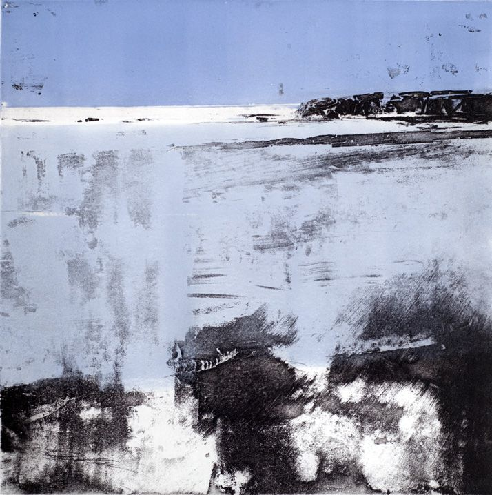 Artist Stephen Robson Print titled 'Rye Bay' Etching and monoprint, Plate size 24 x 24 cms. paper size 51 x 58 cms. approx. Variable edition of 30 Blue version of this print, also made with a warm grey.