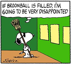 Image of Snoopy reading to see if Broomball session is filled up