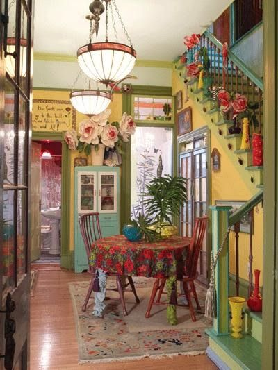 Tia Elders' 1,500-square-foot home in the French Quarter is filled with color, whimsy and a sense of humor...     Retro salon chairs with bu...
