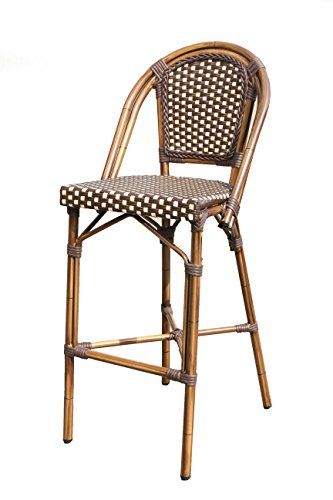Plantation Prestige Commercial Furniture 2140300-0280 CAYMAN Bar Stool Aluminum/Pac/Weave Material Type Cappuccino/Beige Weave