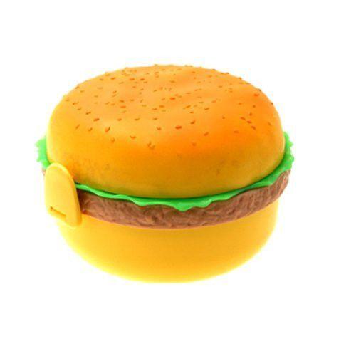 Merske MK10018 Hamburger Shape Plastic Bento Lunch Box w Fork & Spoon