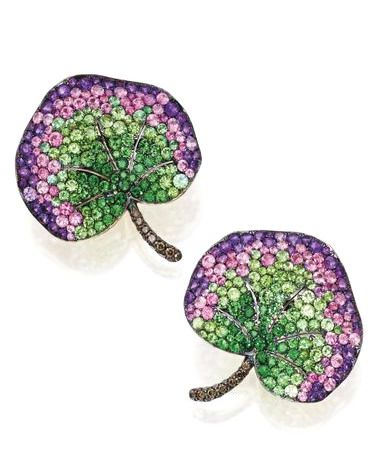 PAIR OF 18 KARAT GOLD, TSAVORITE GARNET, AMETHYST, PINK SAPPHIRE AND DIAMOND LEAF EARCLIPS, MICHELE DELLA VALLE Of foliate design, the leaves set with tsavorite garnets, pink sapphires and amethysts, the stems set with diamonds of brown hue weighing approximately .55 carat, gross weight approximately 18 dwts, signed MdV. With signed box.