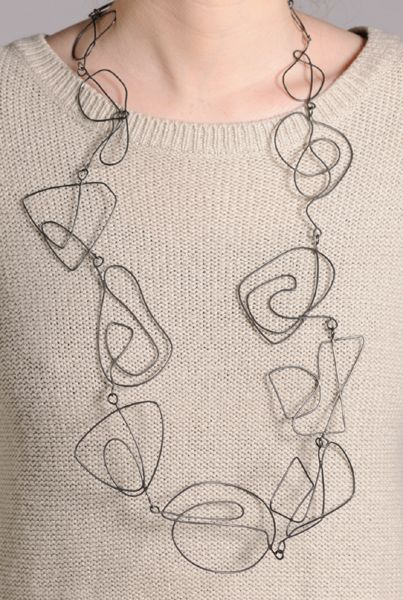 Necklace | Amy Logan. 'Large Swirl'. Oxidised silver